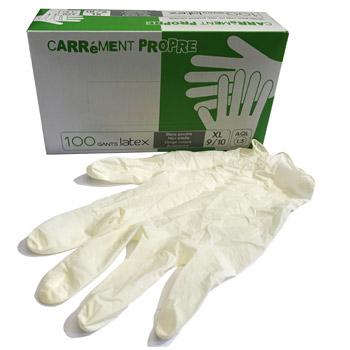 équipement de protection individuel Gants latex naturel blancs poudrés